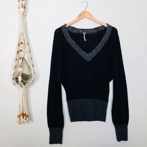 Free People Black and Grey Sequence Neck Sweater M